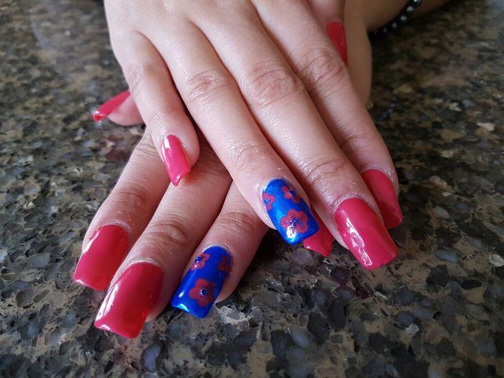 #stardust nails #pink #blue #flower #gel #nails #my nail art #pretty #raman rooprai