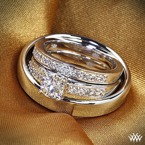 "Soul mates -  This perfect his-her wedding set, perfect Whiteflash couple ""I DO's""!"
