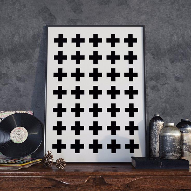Крест Шаблон Холст Стены Искусства, для печати Плакатов, швейцарский Крест, скандинавский Плакат, черный и Белый, Знак плюс, минималистский Декор