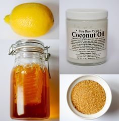 Coconut oil, honey, lemon, and brown sugar body/face scrub.