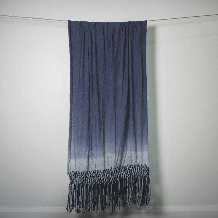 Blue Ombre Blanket Scarf with Macrame Fringing