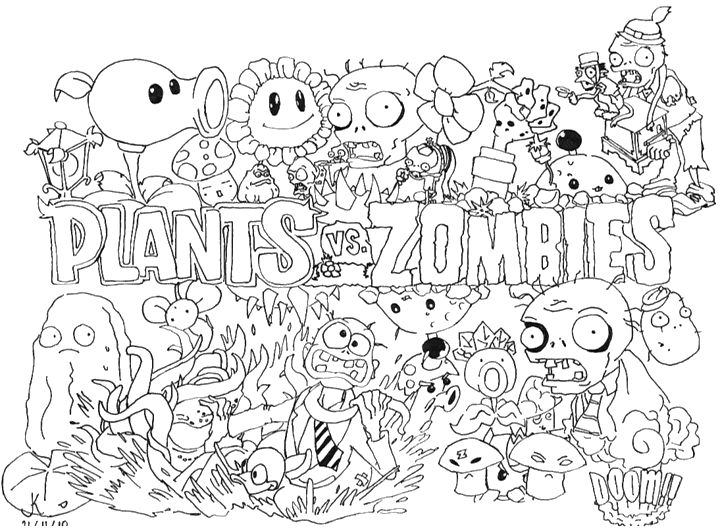 plants vs zombies coloring pages for kids coloring pages for kids - Black Ops Zombies Coloring Pages