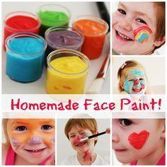 Selbstgemachte Farbe fürs Kinder - damit kann man überall rumschmieren, auch im Gesicht;-) *** Homemade Facepaint for kids FUN