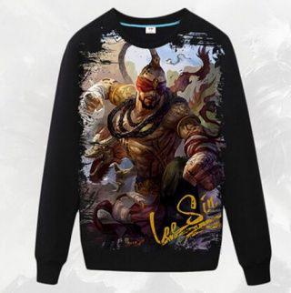 Preto Muay Thai Lee Sin camisola para homens League of Legends camisola de algodão