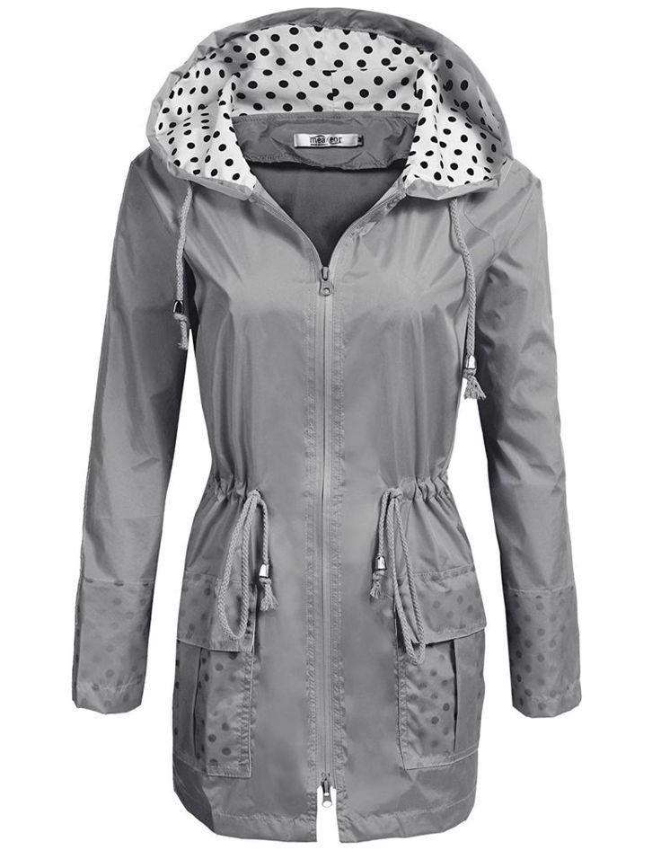 COSBEAUTY Waterproof Lightweight Rain Jacket Active Outdoor Hooded Raincoat for Women