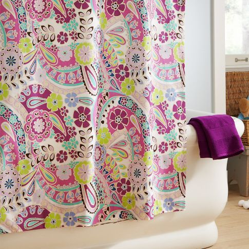 Paisley Pop Shower Curtain - Purple | PBteen.  I totally want to use this for my daughters' bedroom curtains!  Hmm..