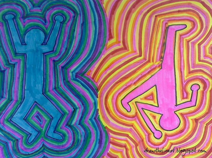 Draw The Line At: Keith Haring Figures in warm and cool colors