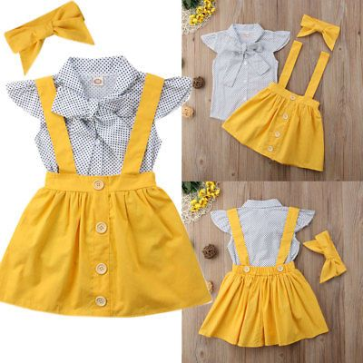 US Toddler Baby Girls Bowtie Dots Tops+Suspender Tutu Dress Skirt Outfits Sets