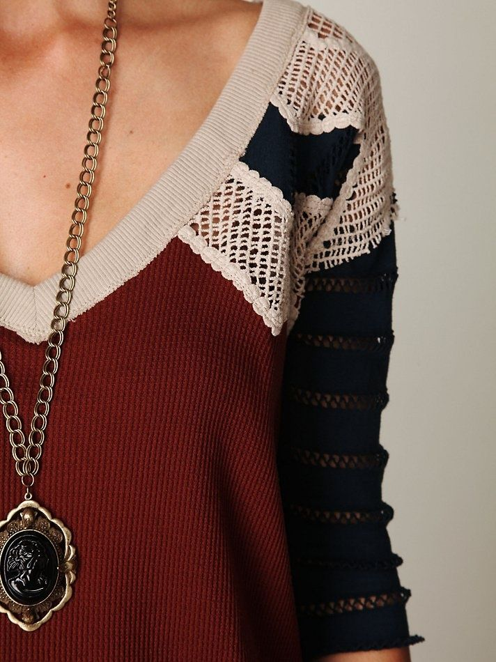 Free People...cool sweater, chuky necklace