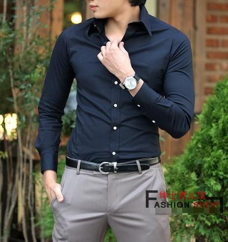 camisas de manga larga Coreana de hombres delgados de algodón casual elegante new Navy