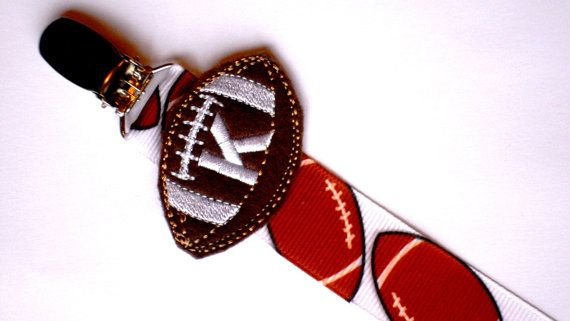 Pacifier Clip Monogram Baby Boy Football Paci Clip . great for Twins .. Soothie, Nuk, Mam Avent ect. on Etsy, $8.50