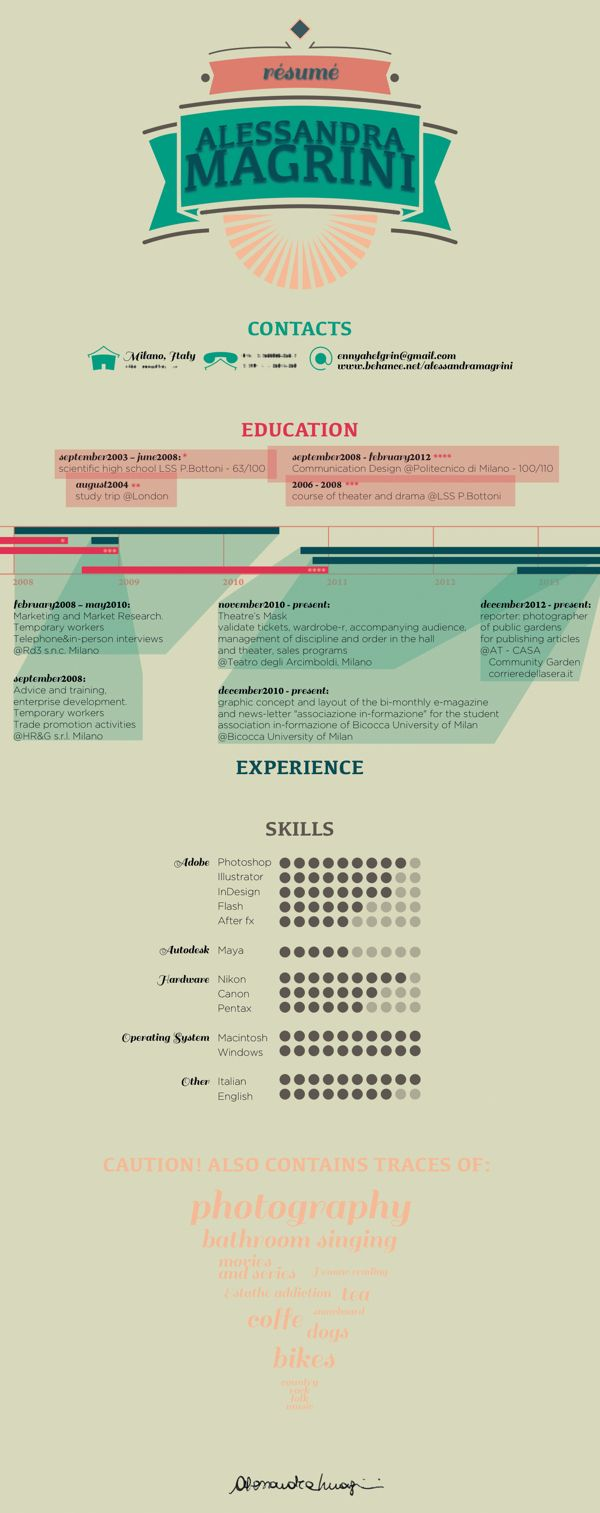 Résumé // CurriculumVitae by alessandra magrini, via Behance