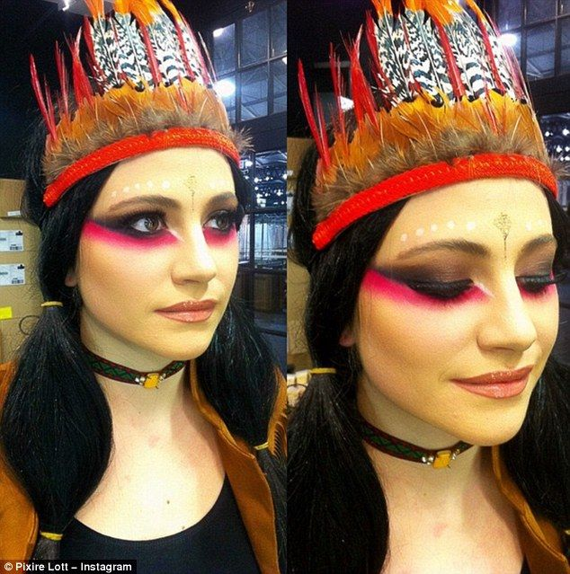 Blasted: Pixie Lott has found herself at the centre of a race row after donning a feathered Indian headdress for her birthday party