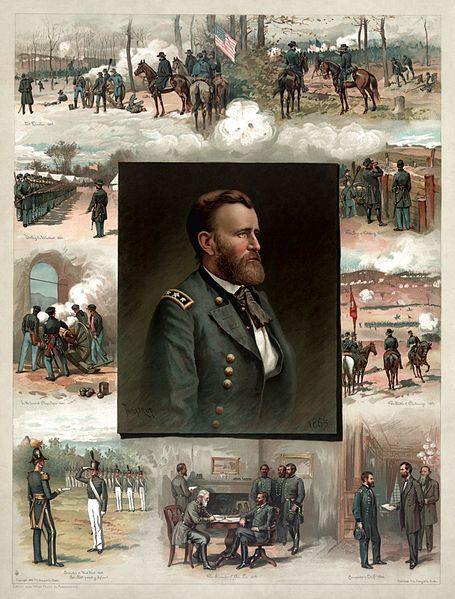 Grant from West Point to Appomattox, an 1885 engraving by Thure de Thulstrup. Clockwise from lower left: Graduation from West Point (1843); In the tower at Chapultepec (1847); Drilling his Volunteers (1861); The Battle of Fort Donelson (1862); The Battle of Shiloh (1862); The Siege of Vicksburg (1863); The Battle of Chattanooga (1863); Appointment as Lieutenant General by Abraham Lincoln (1864); The Surrender of General Robert E. Lee at Appomattox Court House (1865)
