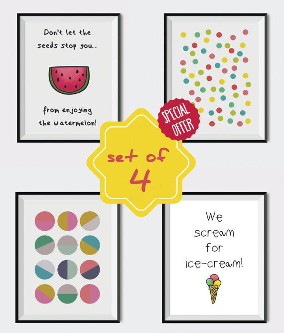 Set of posters, Kids room decoration, Kids wall art, Set of 4 posters, Colorful set of posters, Watermelon, Ice-cream,Polka dot,Gift for kid.  This listing is for an INSTANT DOWNLOAD of 2 ZIP files of this set of artworks. Just purchase the listing and your prints are ready to download instantly. Why not print a whole set for a friend, or just for fun?  Once you purchase the set you will receive the following files:  - 1 ZIP high resolution (300 dpi) file with 4 posters of 8x10 inches. - 1…