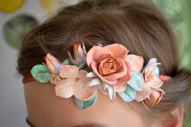 Греческая повязка с розами, гортензией и эвкалиптом.  Фоамиран  #цветы_аксессуар_Suncreative