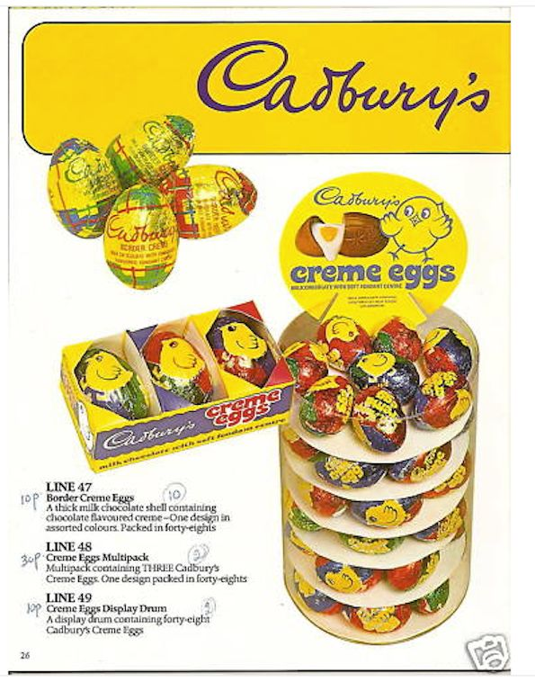 Cadbury's Creme Eggs. Shown here with their forerunner Border Eggs (the ones in the tartan wrappers). Creme Eggs in the 1970s were larger than they are today and the chocolate was thicker and the filling actually was nice, not like the revolting mixture nowadays.