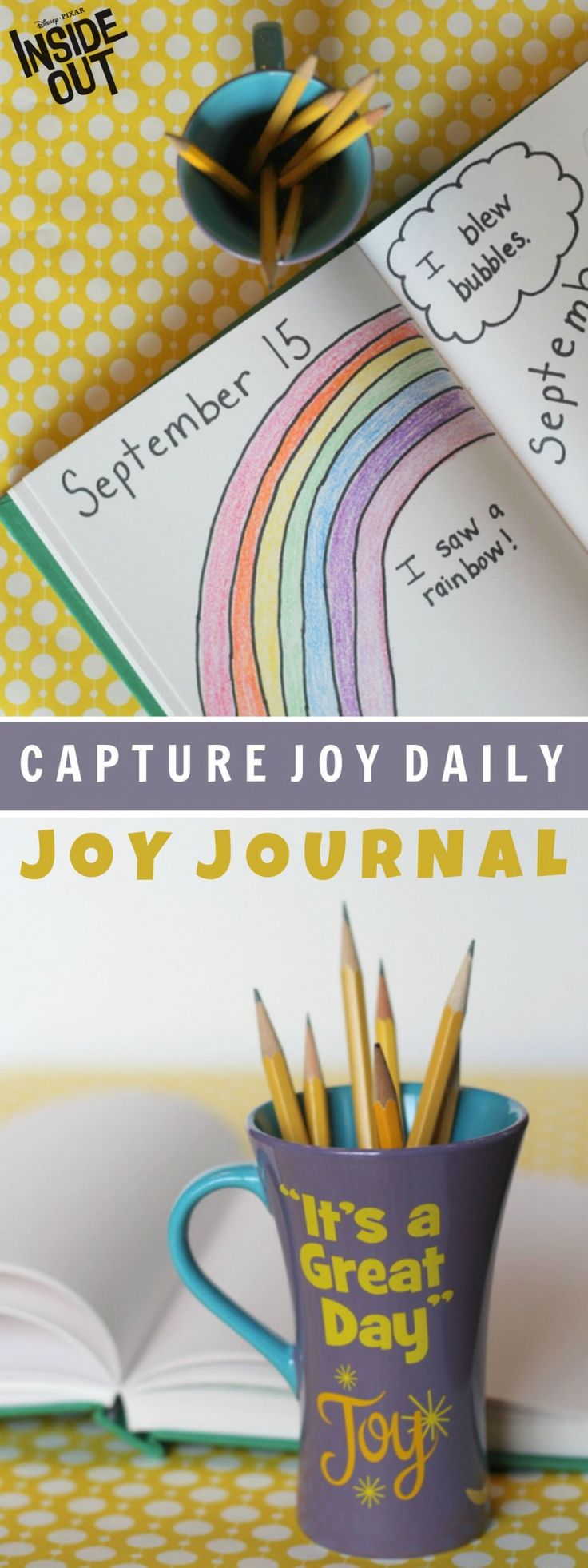 Kids of any age can capture joy daily by drawing and writing about little things that make them happy! Great for building a daily habit of gratitude. Just one of many important lessons learned from the Disney Pixar movie Inside Out coming to Disney Movies Anywhere 10/13 and Blu-ray 11/3!