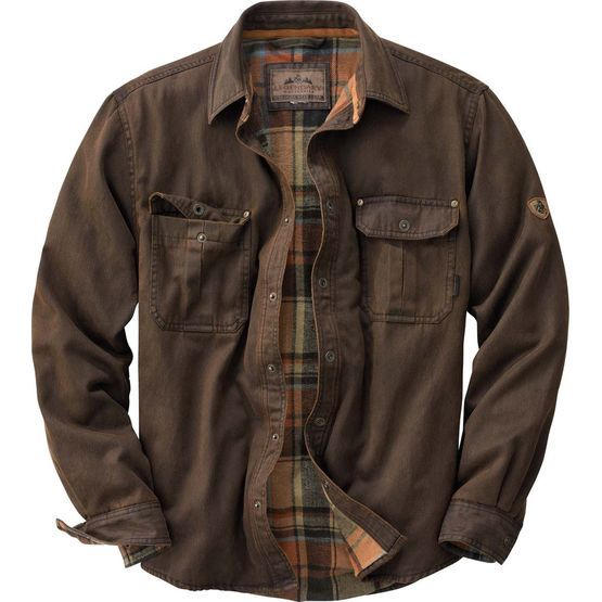 We added a flannel lining to our popular weathered cotton 'leather' shirt to build this one of a kind shirt jac.  The rugged wax cotton look comes with an unexpected softness.  Features side hand warmer pockets, antique brass Legendary® snaps, Signature Buck appliqué, and triple needle stitching.  Cotton/poly blend.
