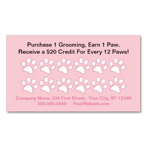Dog Grooming Customer Reward Card