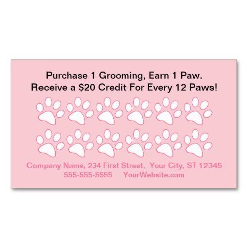 Dog Grooming Customer Reward Card