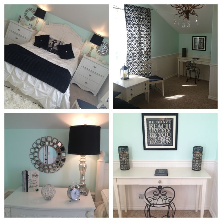 Mint bedroom teen girl 39 s bedroom paris theme with silver for Black and white girls bedroom ideas