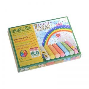 ÖkoNorm Craie de dessin à paillettes 7 couleurs Pastelles - Craies dessin