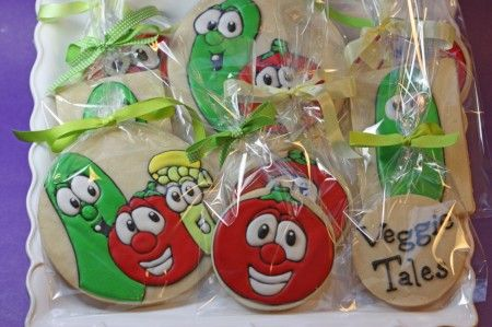 Gluten Free Decorated Cookies   tray of veggie tale cookies