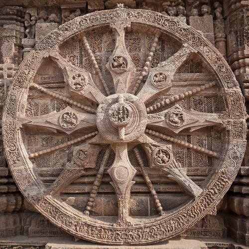 Wheel of sun god temple in Konark temple Odhisa