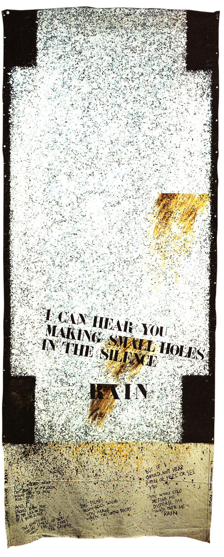 Rain, 1979 by Ralph Hotere. The use of stencil for the text