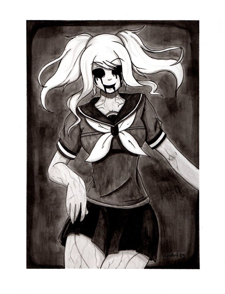 Thought I try something new today, a really big ink painting. Here's Fun Girl from the game Yandere Simulator. Creepy x)