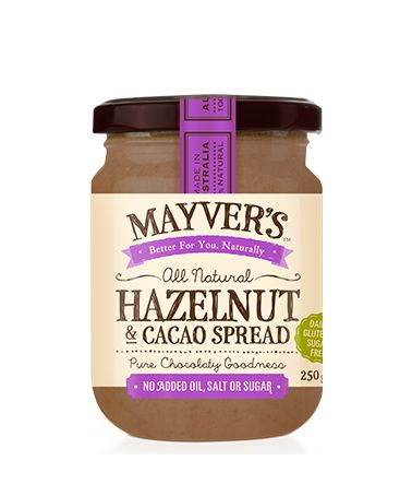 100% PURE-STATE HAZELNUT & CACAO SPREAD   Mayvers Pure-State Hazelnut & Cacao spread is quite simply heaven in a jar. Nature's sugar-free answer to a guilt-free chocolate fix, this delectable feel-good combination is guaranteed to help lift your mood sky-high, minus the sugar! Sweetness of the Hazelnuts means you can eat it straight from the jar, or add a sprinkle of coconut flakes for instant sugar-free Ferrero Roche!  See more at: http://www.mayvers.com.au/pantry/#sthash.fzmNsmWM.dpuf