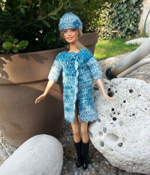 Modrý melír kabát s 3/4 rukávem +čepice pro Barbie