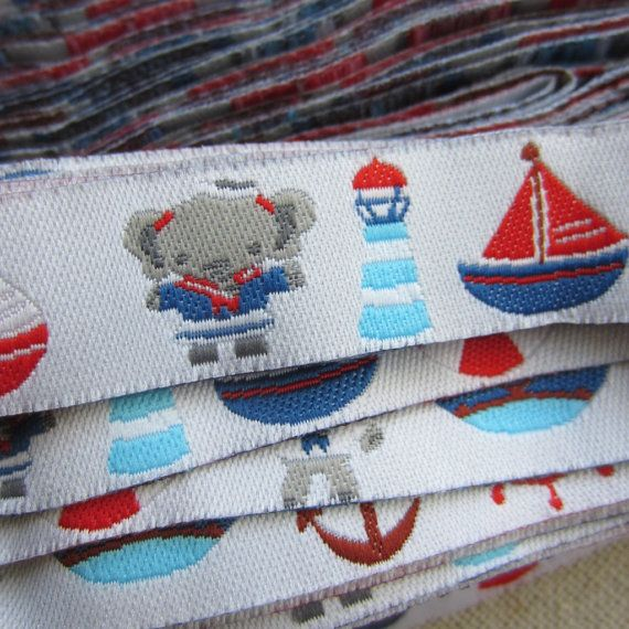 "Embroidered Ribbon. 3m (3.2yds). Elephant, Sailing Trim. Pacifier clip ribbon. 16mm 5/8"" wide. AUD 2.60 Worldwide Post!"