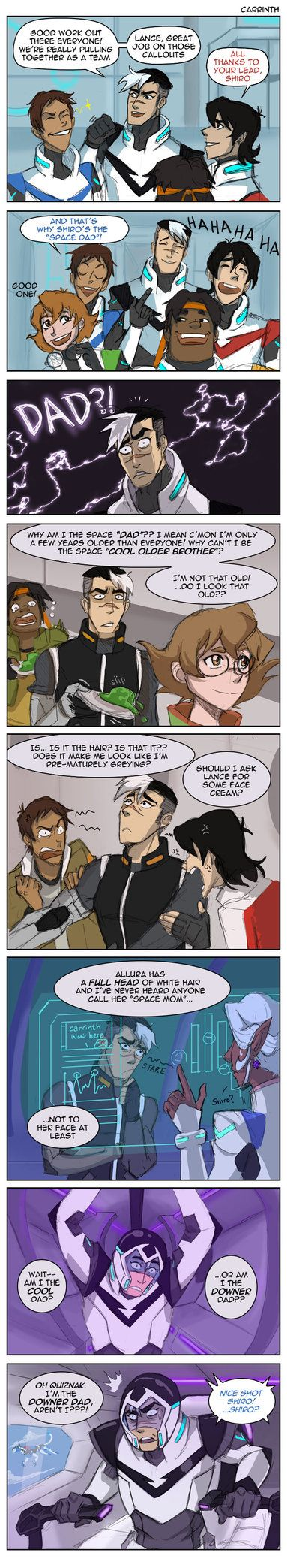 Early 20s adult (?) does not react graciously to elderly nickname bestowed by bunch of teenagers. He's reached that special age where you become weirdly sensitive/secretive about your age. Tumblr:&...<<< I think shiro is canon 23 (I may be mistaken) XD omg love this
