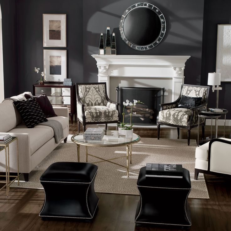 Charming Ethan Allen Iconics: The Corbin Ottoman. Ethan Allen Living Rooms.