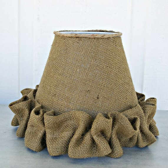 Burlap Lamp Shade with Ruffles  Cottage Chic by PamelaJoyceDesigns, $29.00