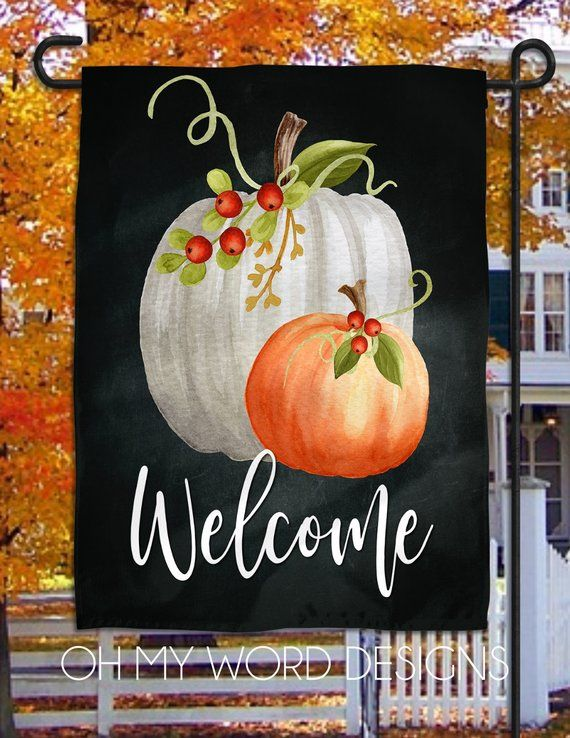 Personalized Garden Flag Welcome Fall Garden Flag Welcome Flag Farmhouse Garden Flag Harvest Flag Farmho Personalized Garden Flag Word Design Garden Flag Stand