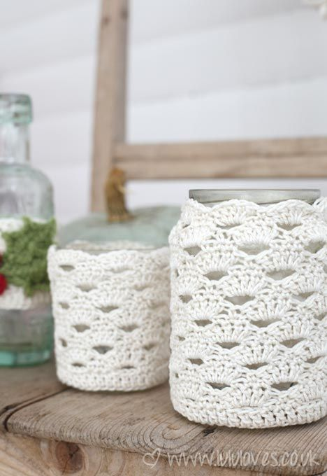 Crocheted jar cozy.  Free pattern on her blog.  Super easy to make.