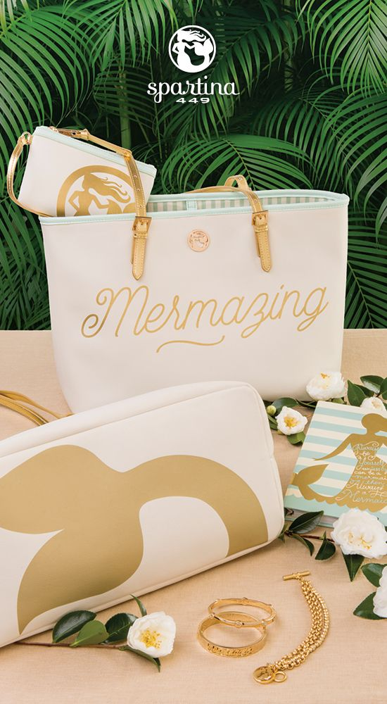 Spartina 449 Mermazing Collection   Always Be a Mermaid   Handbags and Accessories   Tote   Gold   Mermaids
