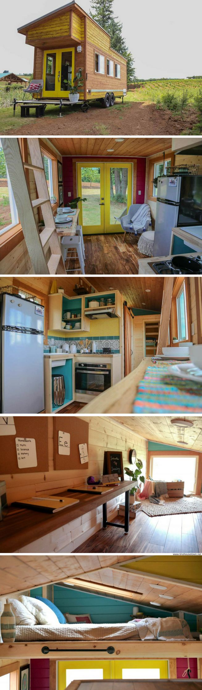 A bohemian beach-style tiny house witha schoolroom for the family's two small children