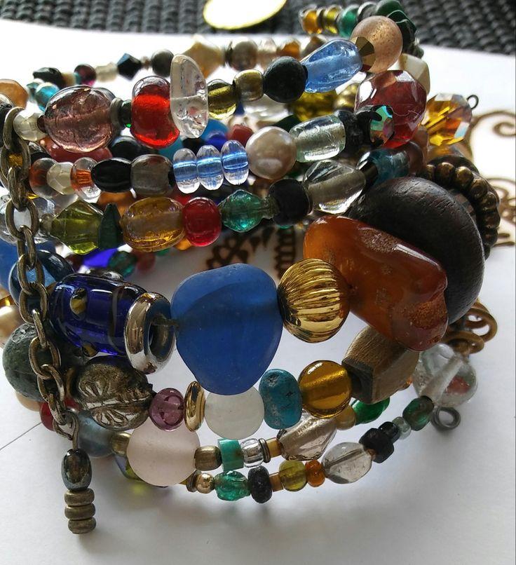 J Norahz Spiral Bracelet  Assorted Beads Chain Bracelet  Artisan  #Handmade #WireWrapBraceletStacks