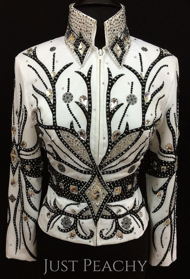 White and Black Western Horse Show Jacket by Jean's Custom Show Fashions ~ Just Peachy Show Clothing