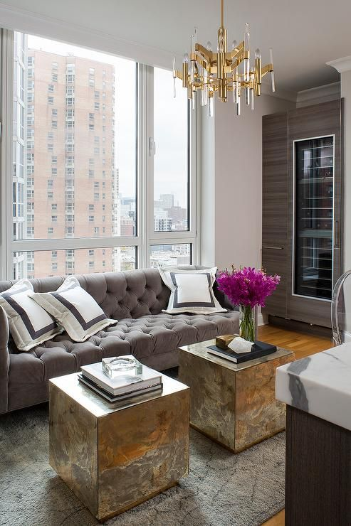 Good Chic, Glam Living Room Features A Gray Tufted Velvet Sofa Lined With Gray  Border Shams Facing A Pair Of Fedro Hollywood Regency Gold Antique Mirror  Cube ... Part 20