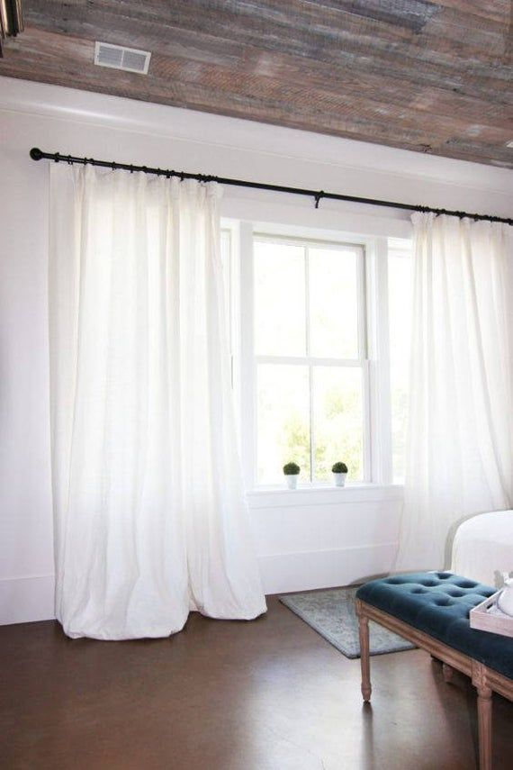 White Linen Curtains Pure Linen Curtains Custom Curtains Etsy Curtains Living Room Curtains Living White Rooms