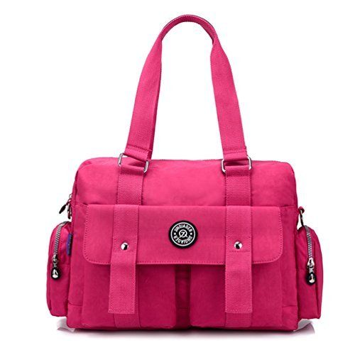 New Trending Shopper Bags: TianHengYi Womens Big Capacity Water Resistant Nylon Tote Duffel Shoulder Bag Handbags Weekender Bag Hot Pink. TianHengYi Women's Big Capacity Water Resistant Nylon Tote Duffel Shoulder Bag Handbags Weekender Bag Hot Pink   Special Offer: $28.99      300 Reviews Characteristics :Material: Nylon Closure: zipperComes with added adjustable and detachable crossbody strapDimension : 15.4″ X...