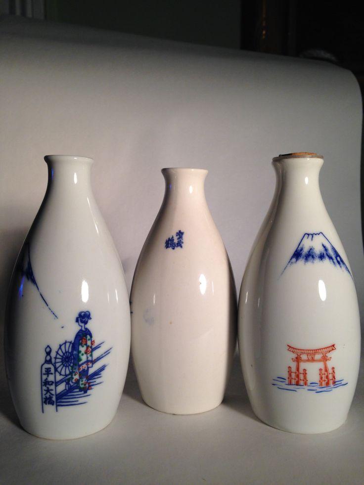 Three Sake Mount Fuji Decanters by SoniaRumzi on Etsy