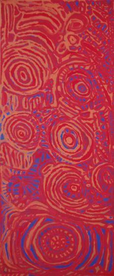 Dickie Minyintiri, Kapi tjukula, 2009, acrylic on linen, 51 x 120.6 cm. Marshall Art.