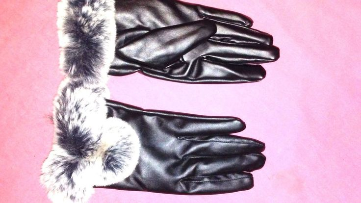 Women's Ladies Gloves With Faux Fur Trim : Black #ExquisiteGloves