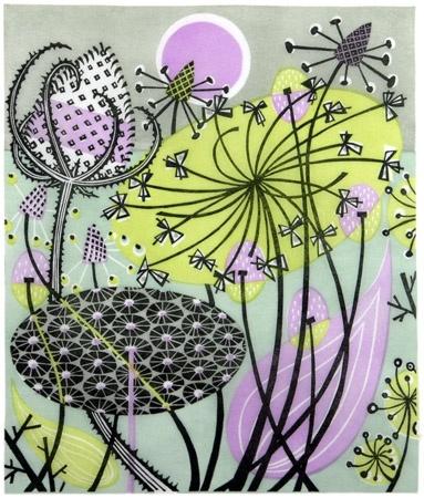 #AngieLewinAlliums #linocut #illustration #floral